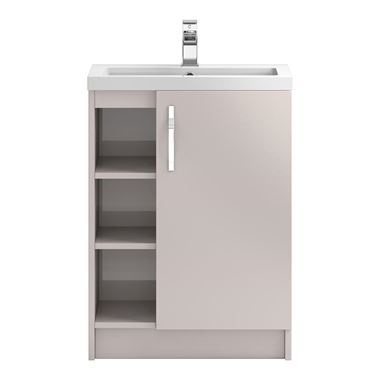 Apollo 600mm Floor Standing One Door Vanity Unit and Basin - Cashmere