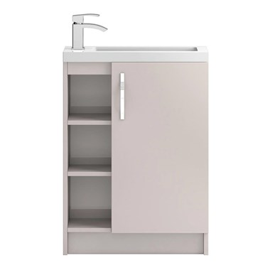 Apollo Compact 600mm Floor Standing One Door Vanity Unit and Basin - Cashmere