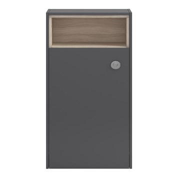 Coast 600mm Back to Wall Toilet Unit With Open Shelf - Grey Gloss