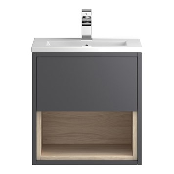 Coast 500mm Wall Hung Vanity Unit and Basin - Grey Gloss