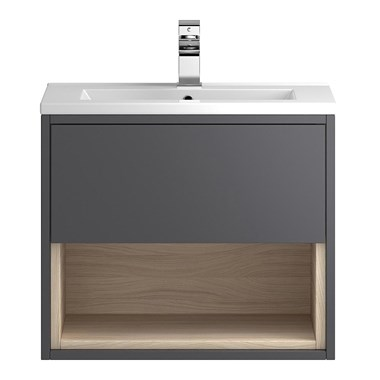 Coast 600mm Wall Hung Vanity Unit and Basin - Grey Gloss