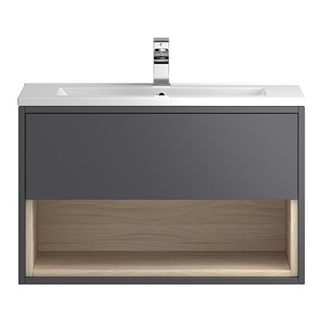 Coast 800mm Wall Hung Vanity Unit and Basin - Grey Gloss