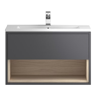 Coast 800mm Wall Hung Vanity Unit - Grey Gloss