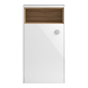 Coast 600mm Back to Wall Toilet Unit With Open Shelf - White Gloss