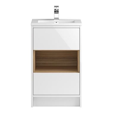 Coast 500mm Floor Standing Vanity Unit and Basin - White Gloss