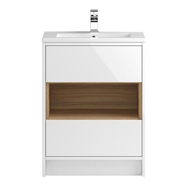 Coast 600mm Floor Standing Vanity Unit and Basin - White Gloss