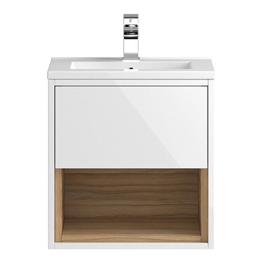 Coast 500mm Wall Hung Vanity Unit and Basin - White Gloss