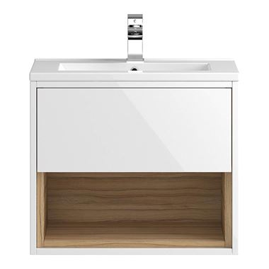 Coast 600mm Wall Hung Vanity Unit and Basin - White Gloss