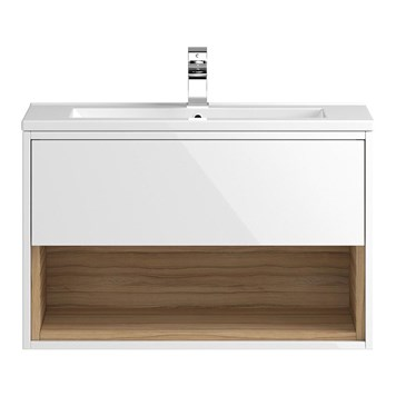 Coast 800mm Wall Hung Vanity Unit and Basin - White Gloss