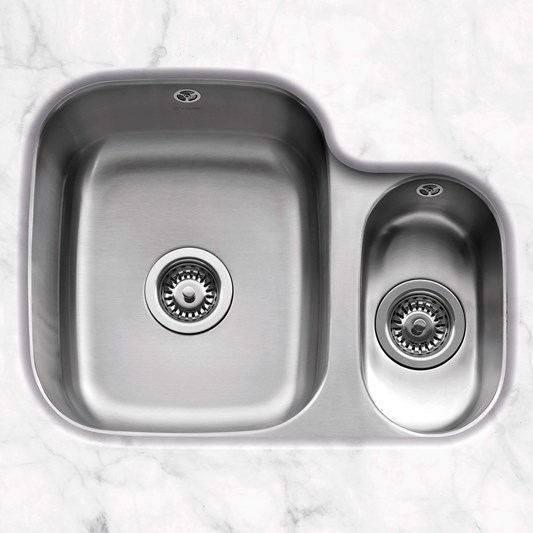 Caple Form 1.5 Bowl Undermount Satin Stainless Steel Sink & Waste Kit - 590 x 450mm