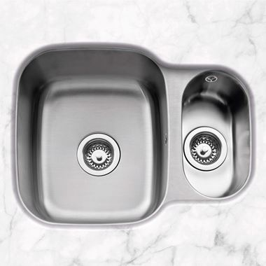 Caple Form 1.5 Bowl Undermount Satin Stainless Steel Sink & Waste Kit - Reversible - 590 x 450mm