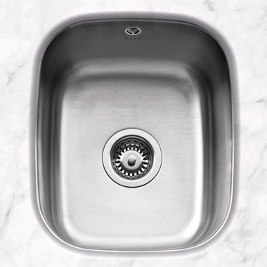 Caple Form 1 Bowl Undermount Satin Stainless Steel Sink & Waste Kit - 370 x 435mm