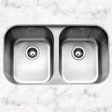 Caple Form 2 Bowl Undermount Satin Stainless Steel Sink & Waste Kit - 791 x 458mm