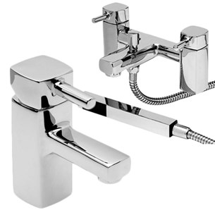Vellamo Quadro Basin Mixer Bath Shower Value Pack