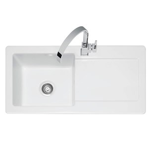 Caple Foxboro 1 Bowl White Ceramic Kitchen Sink with Reversible Drainer - 1000 x 500mm