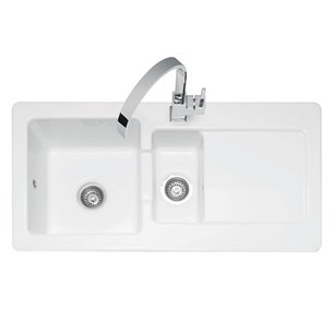 Caple Foxboro 1.5 Bowl White Ceramic Kitchen Sink with Reversible Drainer - 1000 x 500mm