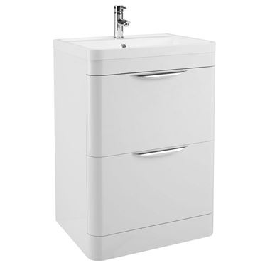 Parade 600mm Floorstanding Vanity Unit with Polymarble Basin - White Gloss
