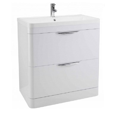 Parade 800mm Floor Standing Vanity Unit with Polymarble Basin - White Gloss