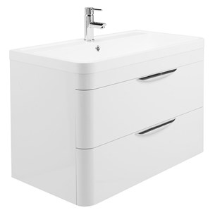 Parade 800mm Wall Mounted Vanity Unit with Polymarble Basin - White Gloss