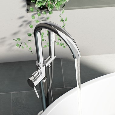 Vellamo Twist Freestanding Bath Shower Mixer Tap