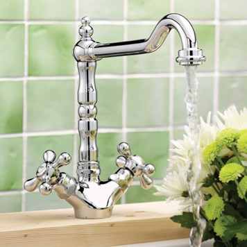 Tre Mercati French Classic Traditional Mono Sink Mixer - Chrome