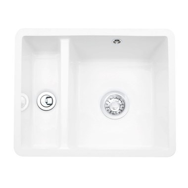 Caple Friska 1.5 Bowl Undermount White Ceramic Kitchen Sink - 545 x 440mm