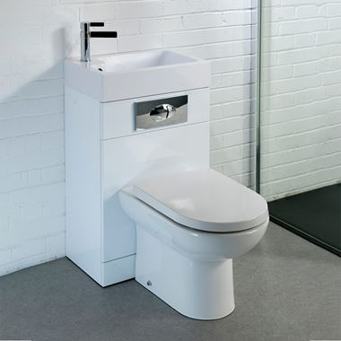 Structure Gloss White Basin and Toilet Unit with D-Shaped Pan & Seat