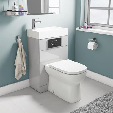 Structure Gloss Grey Basin and Toilet Unit with D-Shaped Pan & Seat