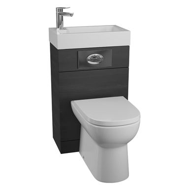 Structure Black Ash Basin and Toilet Unit with D-Shaped Pan & Seat