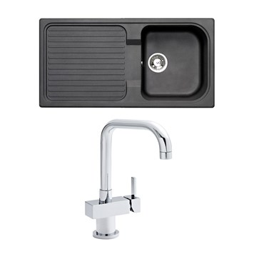 Astracast 1 Bowl Black Granite ROK Composite Sink & Premier Single Round Side Lever Action Mixer
