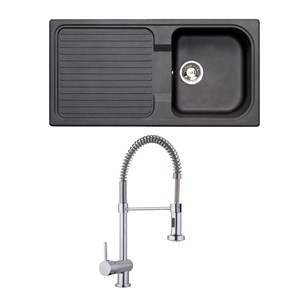 Astracast 1 Bowl Black Granite ROK Composite Sink & Vellamo FlexiSpray Kitchen Sink Mixer