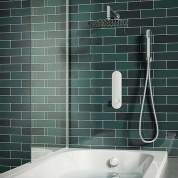 Drench Gabrielle Concealed Thermostatic Push Button Shower Valve, Fixed Shower Head, Handset & Overflow Bath Filler