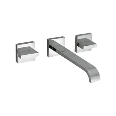 Vado Geo Wall Mounted 3 Hole Basin Mixer with 220mm Spout