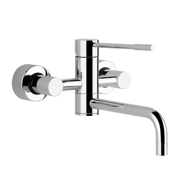 Gessi Oxygen Wall Mounted Top Lever 2 Hole Kitchen Mixer With Swivel Spout