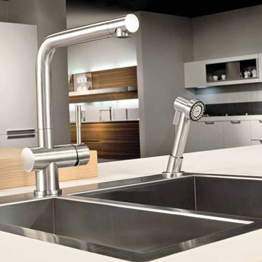 Gessi Oxygen 2 Hole Kitchen Mixer with Dual-Function Pull Out Handspray