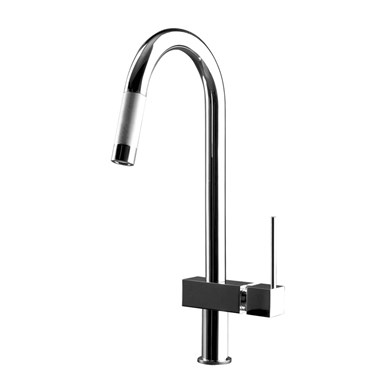Gessi Quadro Hi-Tec Mono Kitchen Mixer With Swivel Spout & Pull-Out Rinse
