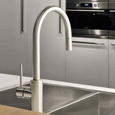 Gessi Oxygen Single Lever Mono Kitchen Mixer with Swivel Spout & Pull-Out Rinse - Brushed Nickel