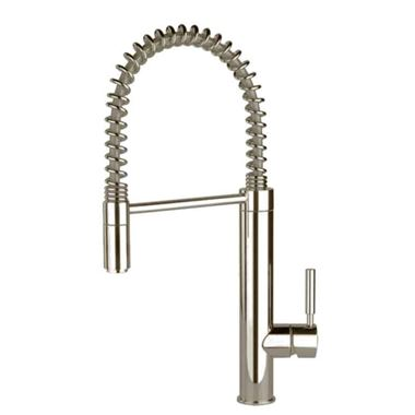 Gessi Oxygen Hi-Tech Mono Kitchen Mixer with Detachable Swivel & Pull-Out Rinse - Brushed Nickel