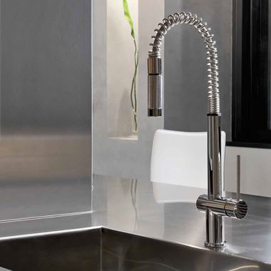 Gessi Oxygen Hi-Tech Single Lever Mono Kitchen Mixer With Flexi Pull-Out Rinse