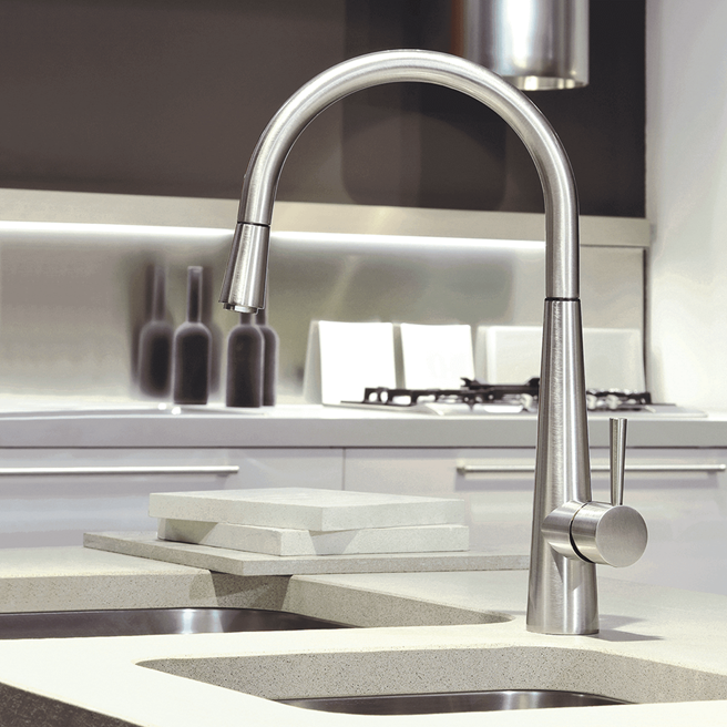 Gessi Just Single Lever Monobloc Mixer with Swivel 'C' Spout & Pull-Out Spray