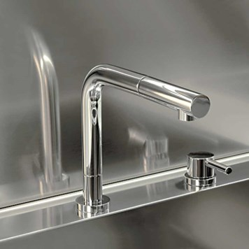 Gessi Logic 2 Hole Brushed Nickel Kitchen Mixer with Triple Height Spout & Pull Out Spray