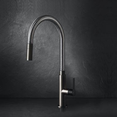 Gessi Mesh Single Lever Mono Kitchen Mixer with Woven Metal Swivel Spout - Brushed Nickel