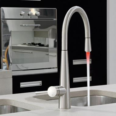 Gessi Just Mono Kitchen Mixer With Swivel Spout & Pull Out Spray - Coloured LED