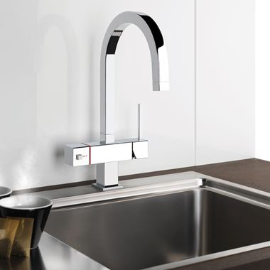 Gessi Quadro 98 Boiling Water Tap With Twin Control & Swivel 'C' Spout