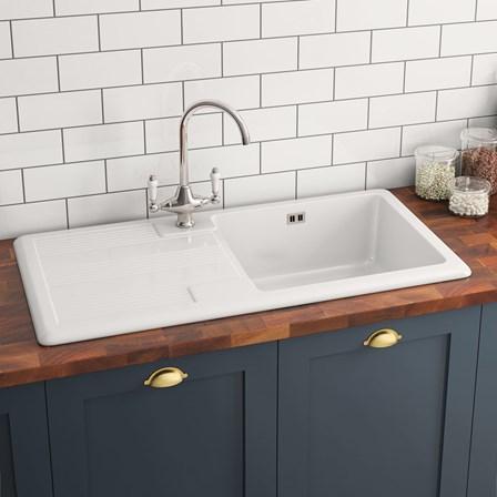 butler rose 1 bowl white ceramic kitchen sink waste. Black Bedroom Furniture Sets. Home Design Ideas