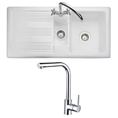 RAK 1000 Gourmet 1.5 Bowl Ceramic Kitchen Sink and Vellamo Savu Mono Pull Out Kitchen Mixer