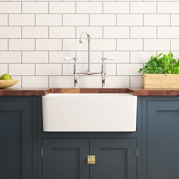 Fireclay Farmhouse Large Belfast White Ceramic Kitchen Sink - 600 x 475mm