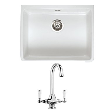 RAK 600 Gourmet Belfast 1 Bowl White Ceramic Kitchen Sink & Vellamo Victoria Traditional Kitchen Mixer Tap