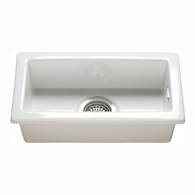 Butler & Rose Gourmet White Ceramic Rectangular 0.5 Bowl Kitchen Sink & Waste Kit - 250mm x 475mm