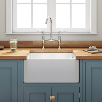 Gourmet Fireclay Single Bowl Belfast Ceramic Sink with Basket Strainer Waste and Butler & Rose Victoria Kitchen Tap